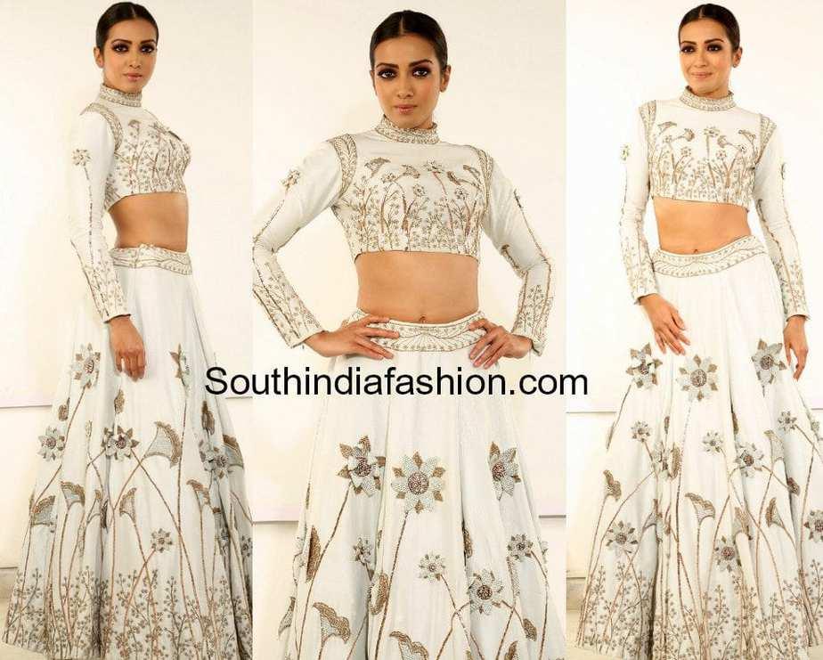 catherine tresa white long skirt crop top nene raju nene mantri jogendra yuvagarjana event