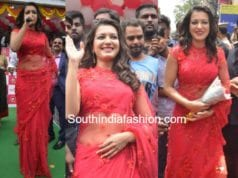 catherine tresa red saree mobile store launch