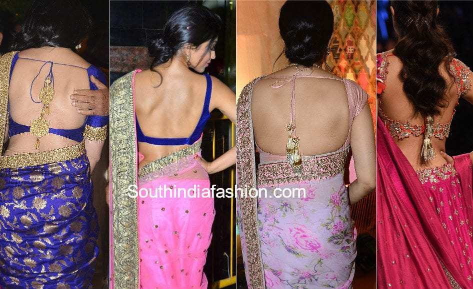 actresses in deep back neck saree blouses
