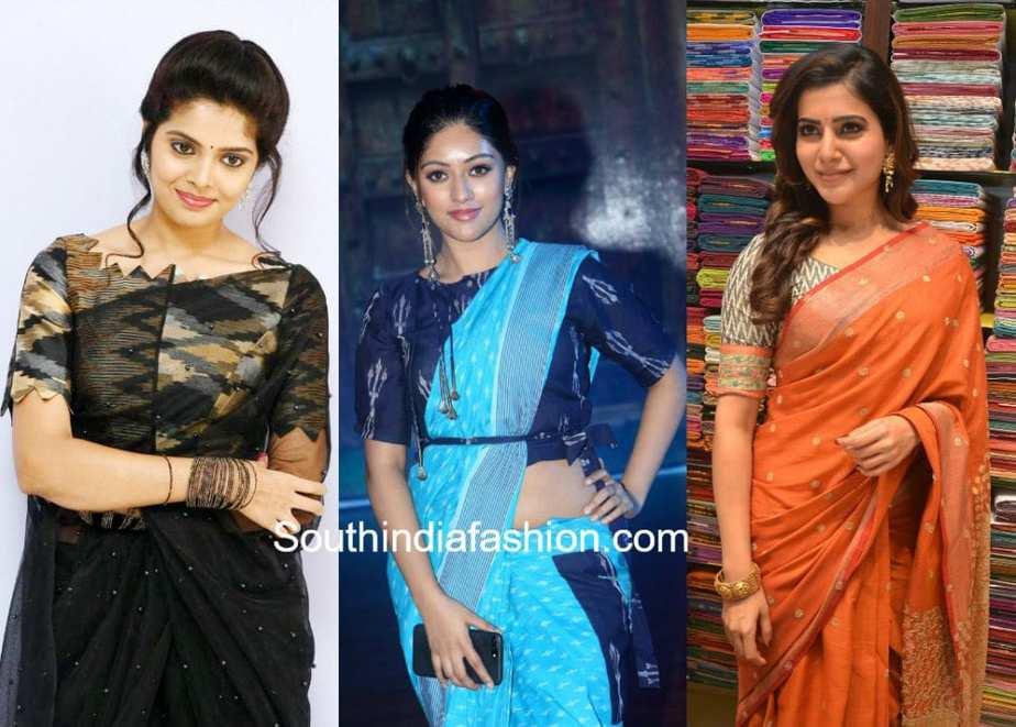 plain saree with ikat blouse