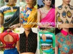 collar neck saree blouse designs