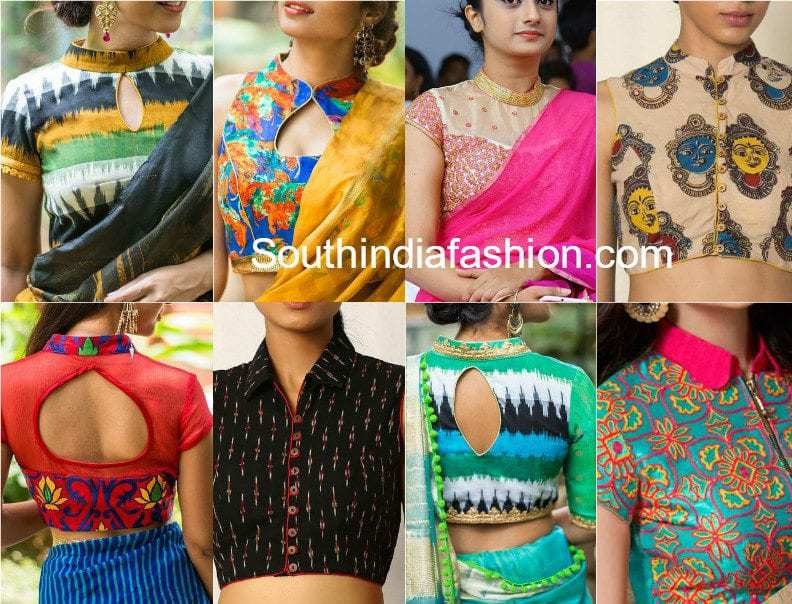 Flaunt The Classy Collar Neck Blouses South India Fashion