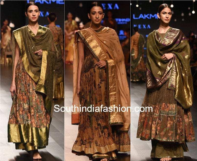 Gaurang Lakme Fashion Week 2017 kalamkari kanchi Collection anarkalis