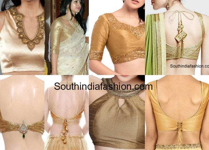 gold saree blouse designs