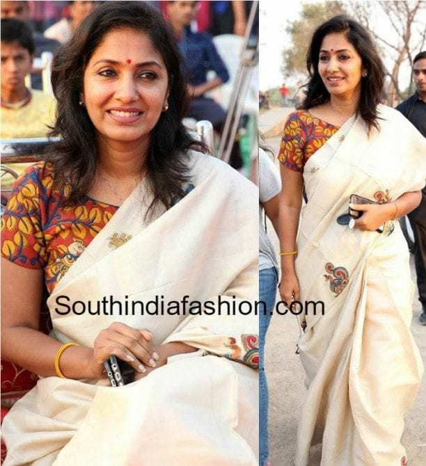 ANCHOR JHANSI PLAIN SAREE KALAMKARI BLOUSE