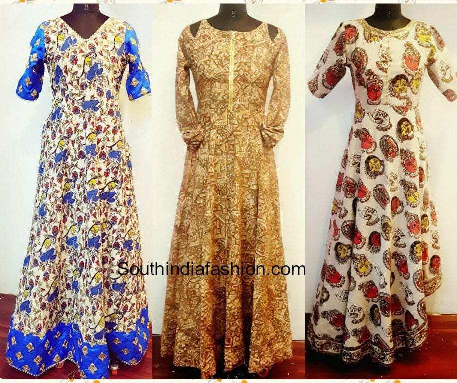 Kalamkari Long Gowns South India Fashion