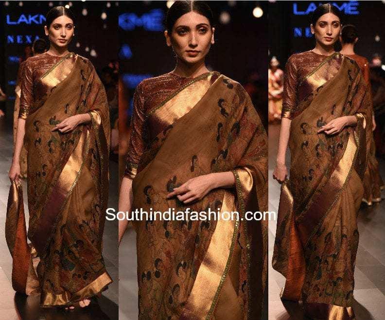 Gaurang Lakme Fashion Week 2017 kalamkari kanchi saree