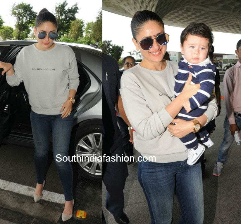 kareena kapoor at airport with baby taimur