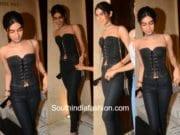 khushi kapoor black dress at sridevi kapoor birthday