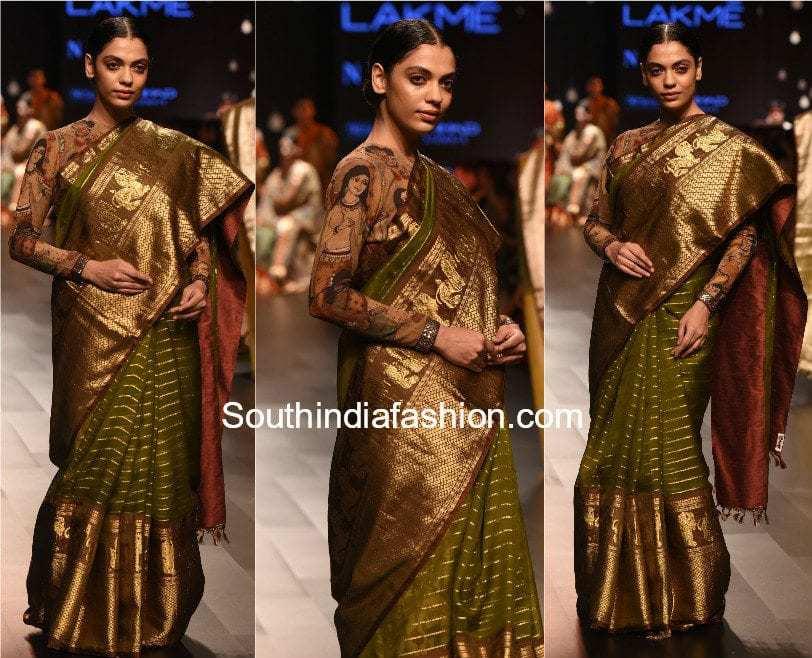 Gaurang Lakme Fashion Week 2017 kanchi organza saree with kalamkari blouse