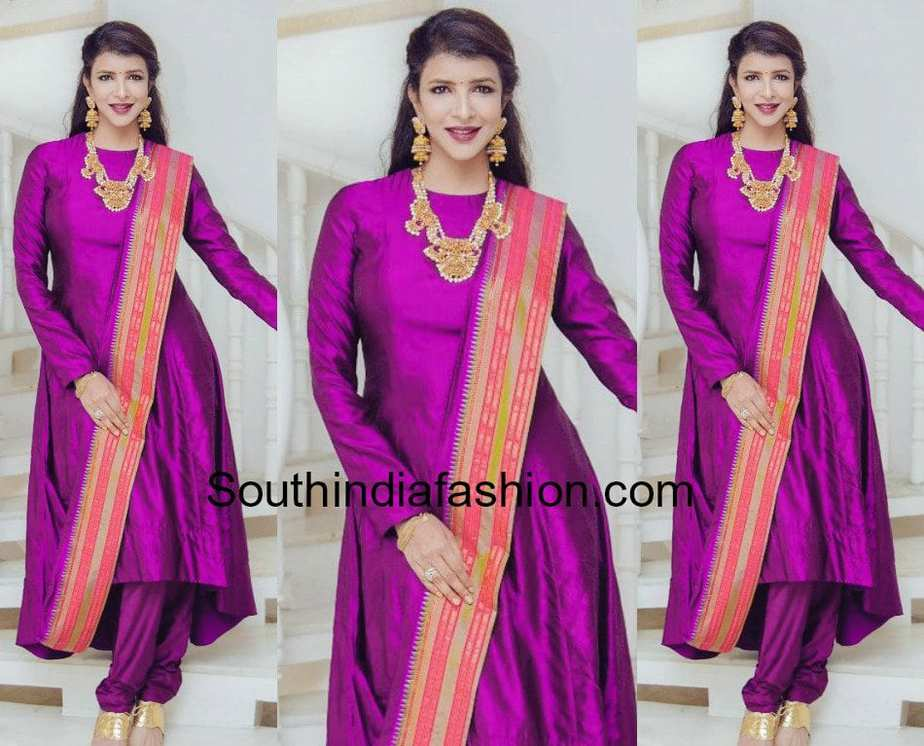 lakshmi manchu in purple salwar suit by shilpa reddy
