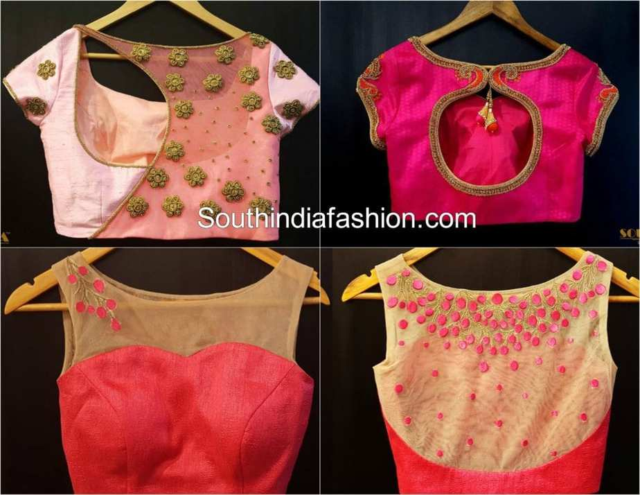 embroidered saree blouse designs