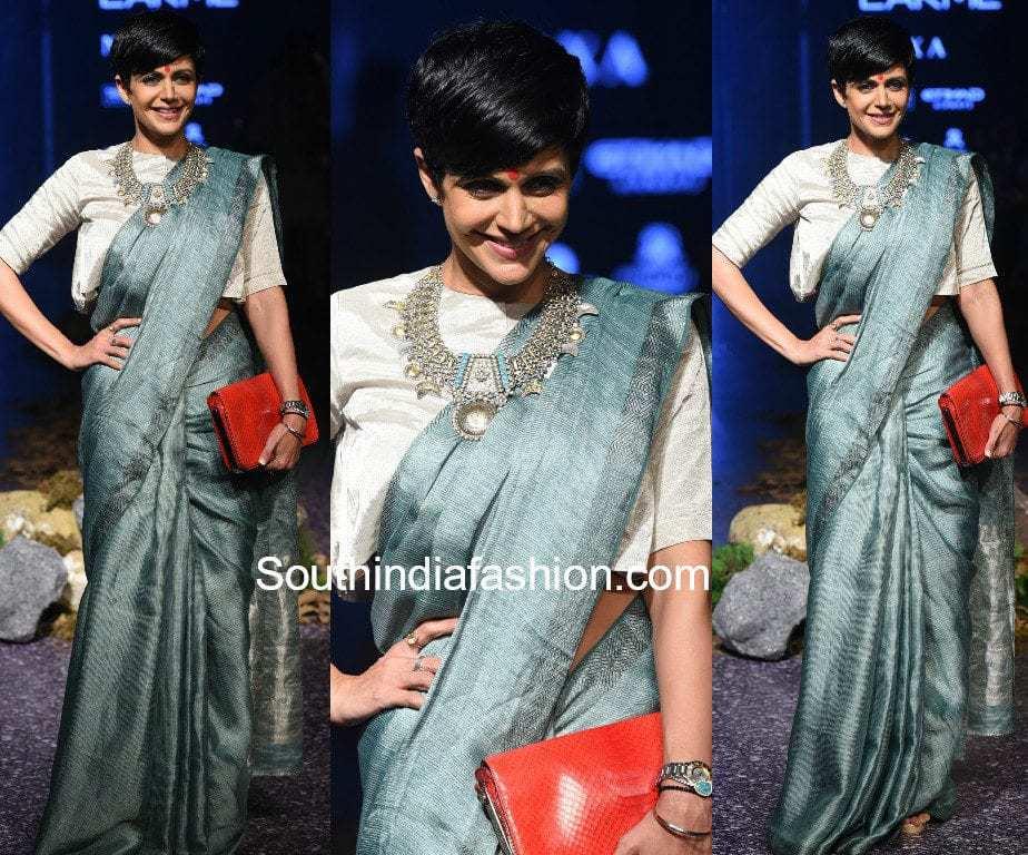 mandira bedi anavila saree lakme fashion week 2017