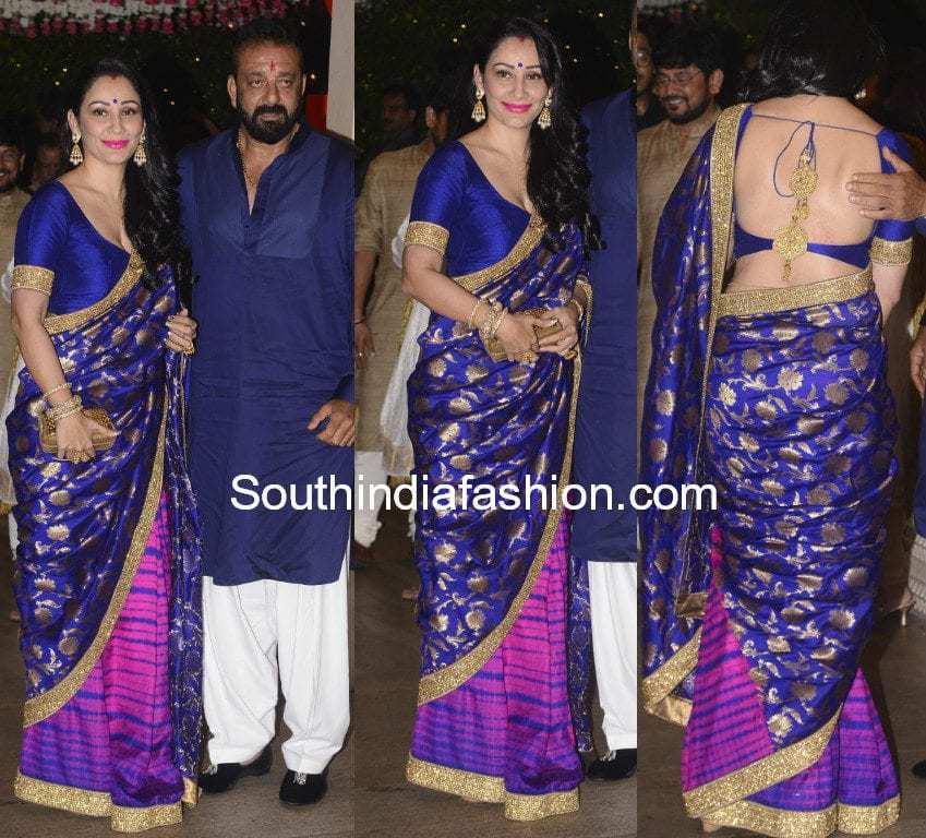 Manyata Dutt In A Blue Saree