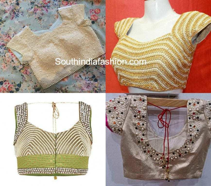 pearl work saree blouse designs