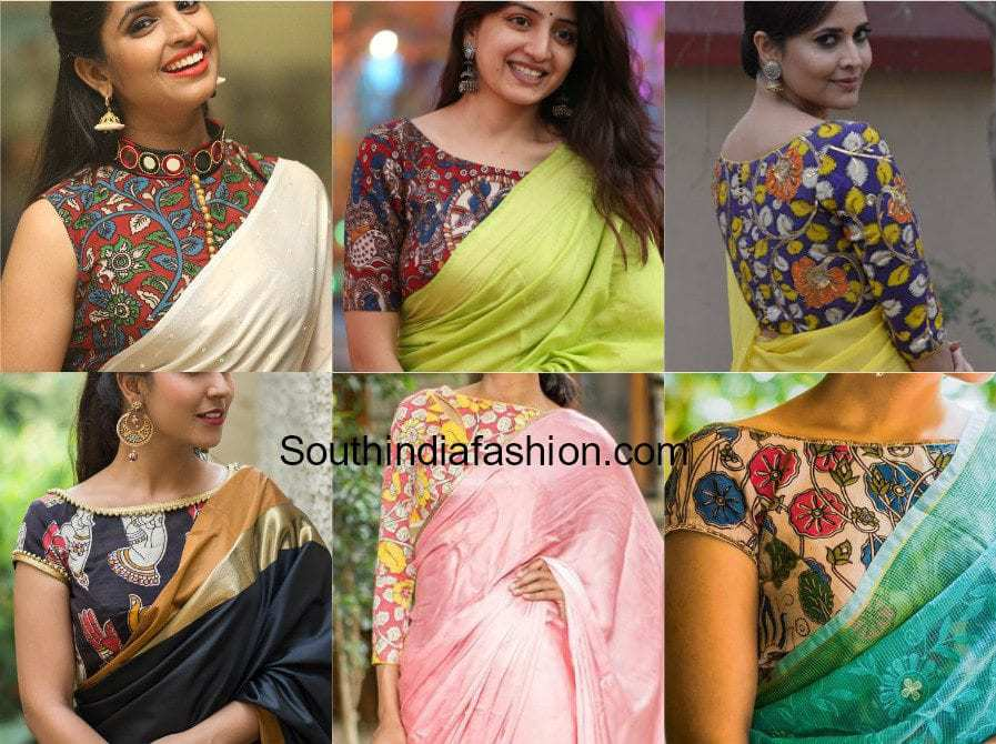 KALAMKARI BLOUSES WITH PLAIN SAREES