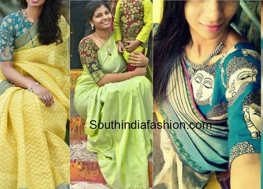 plain saree Kalamkari blouse