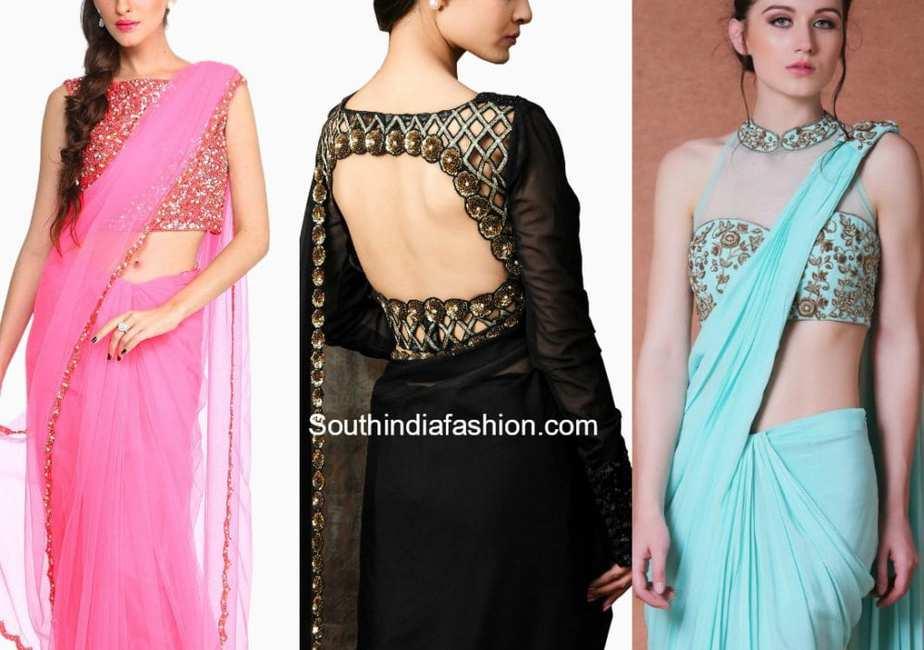 plain saree with designer blouse