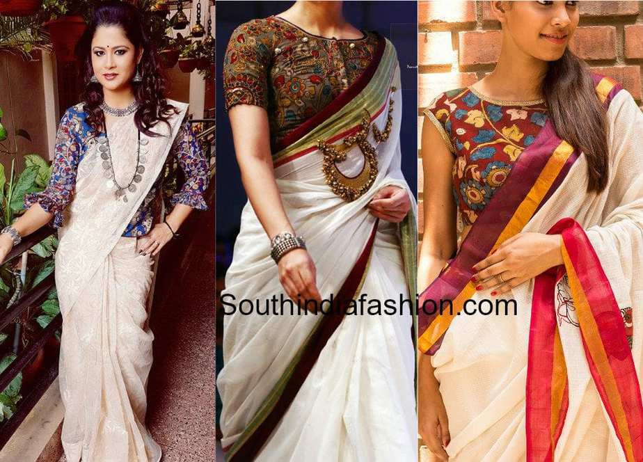 PLAIN SAREES WITH KALAMKARI BLOUSES
