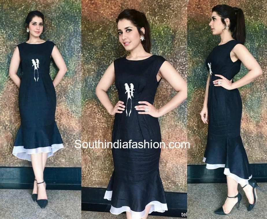 raashi khanna in black dress at big c store launch