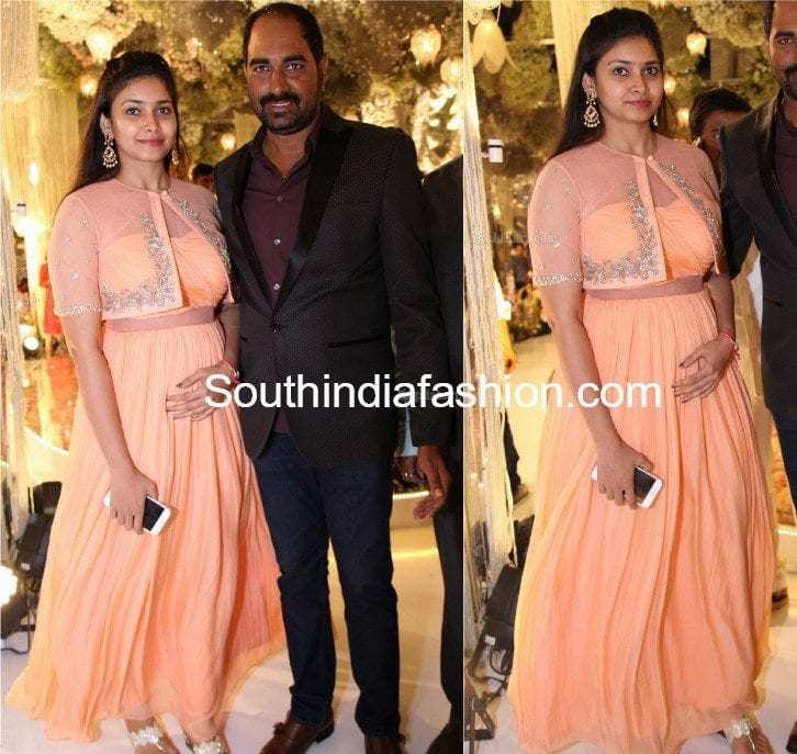 director krish wife ramya in peach anarkali at ntv chairman daughter rachana choudhary engagement