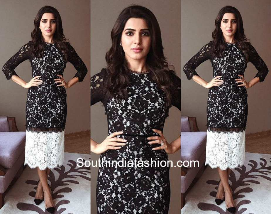 samantha prabhu black lace dress satyabhama university