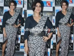 samantha prabhu in ikat saree at woven 2017 fashion show