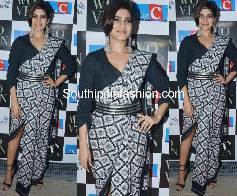 samantha prabhu in ikat saree at woven 2017 fashion show