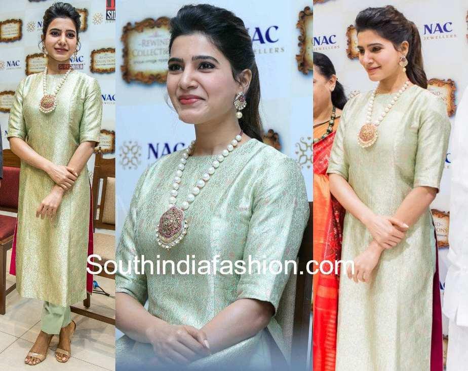 Samantha Ruth Prabhu in Raw Mango kurta at the Launch of NAC Jewellers' Antique Exhibition