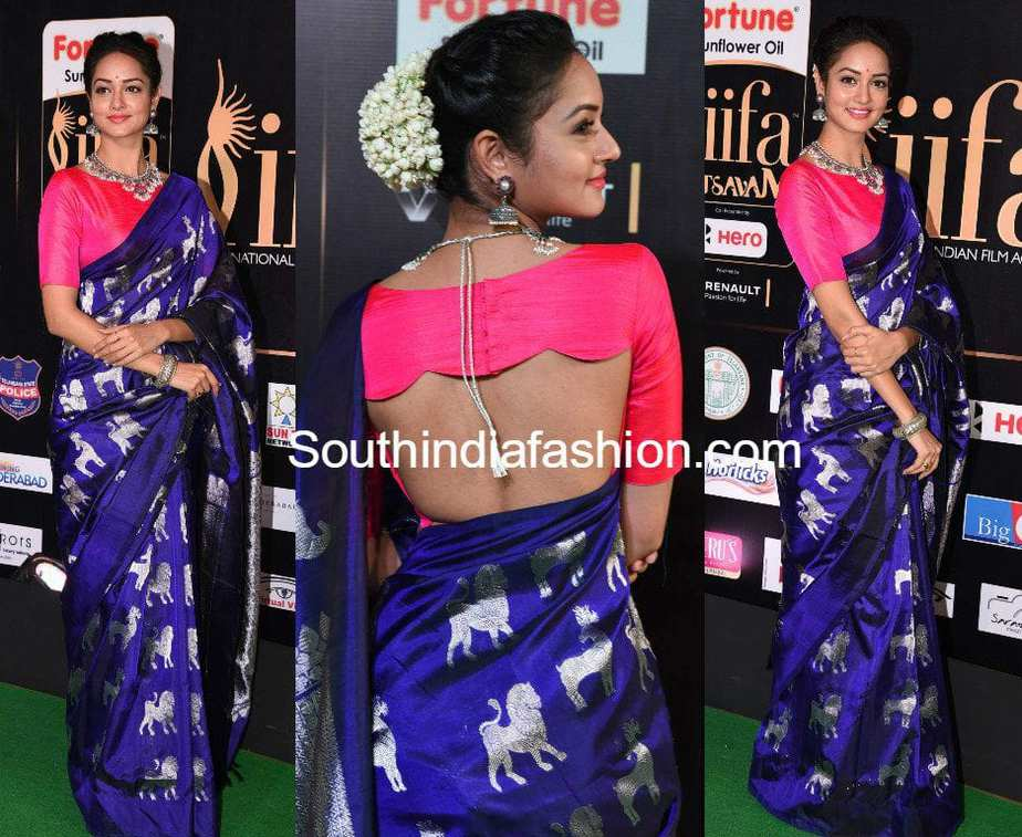 shanvi srivastava iifa utsavam blue silk saree animal design
