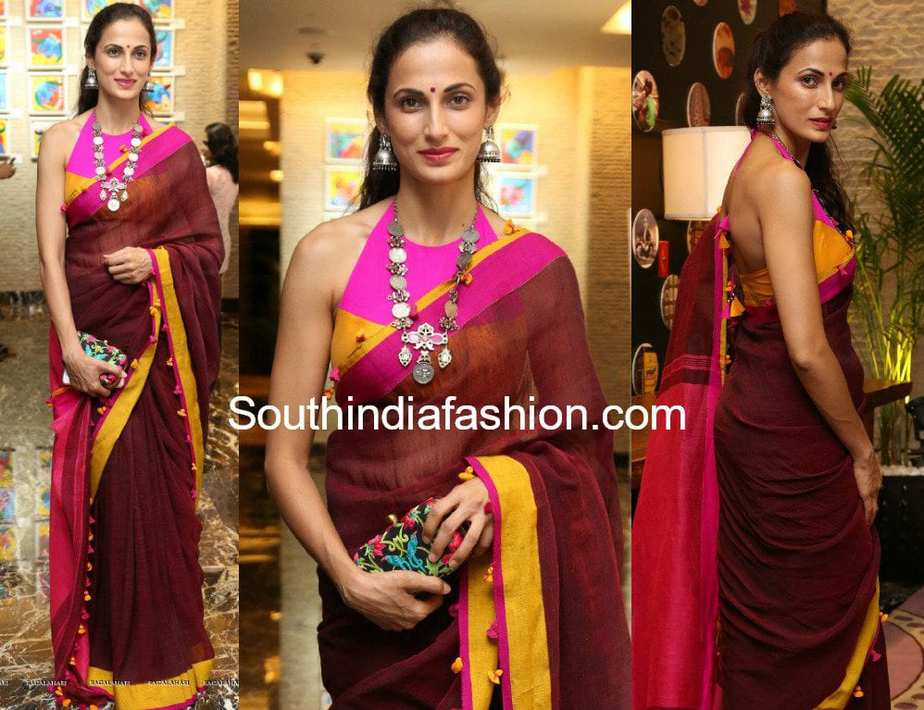shilpa reddy in a linen saree and high neck blouse