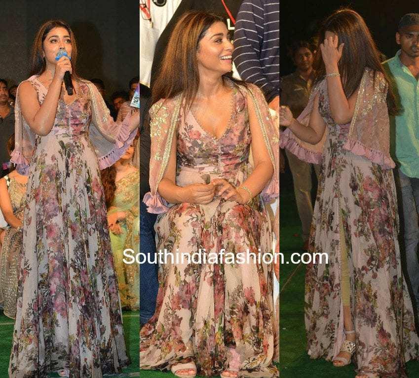 shriya saran paisa vasool audio launch floral gown anushree reddy
