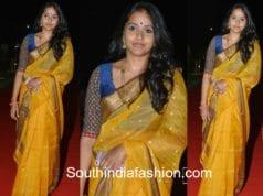 singer smitha yellow handloom saree woven 2017 fashion show