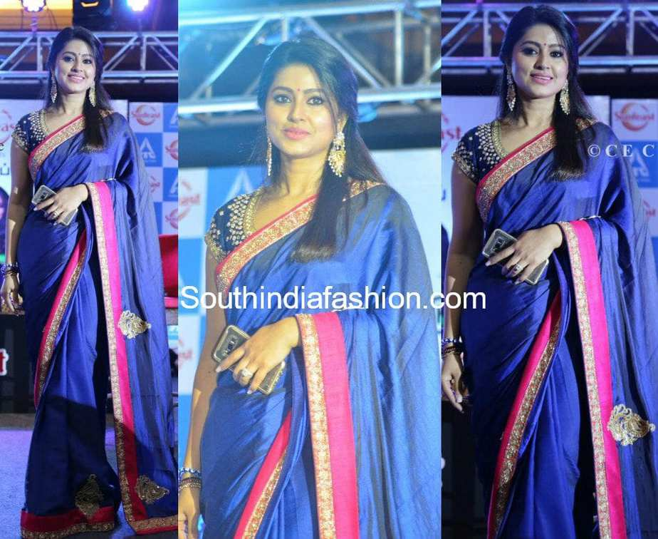 actress sneha in blue saree at sunfeast biscuits event
