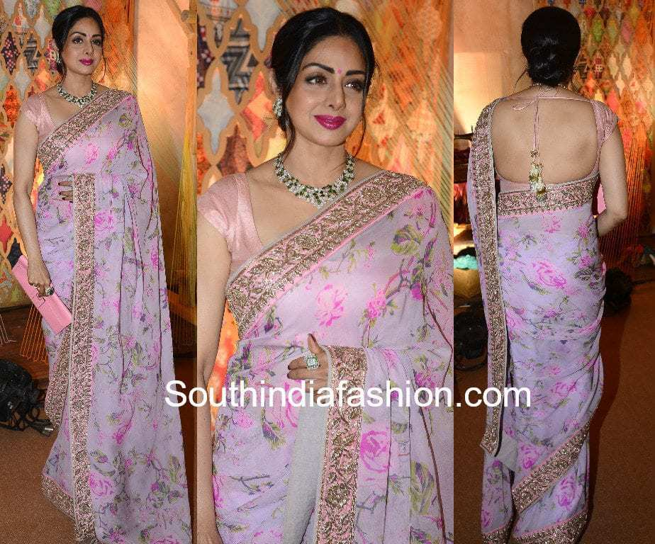 sridevi kapoor in anushree reddy floral saree
