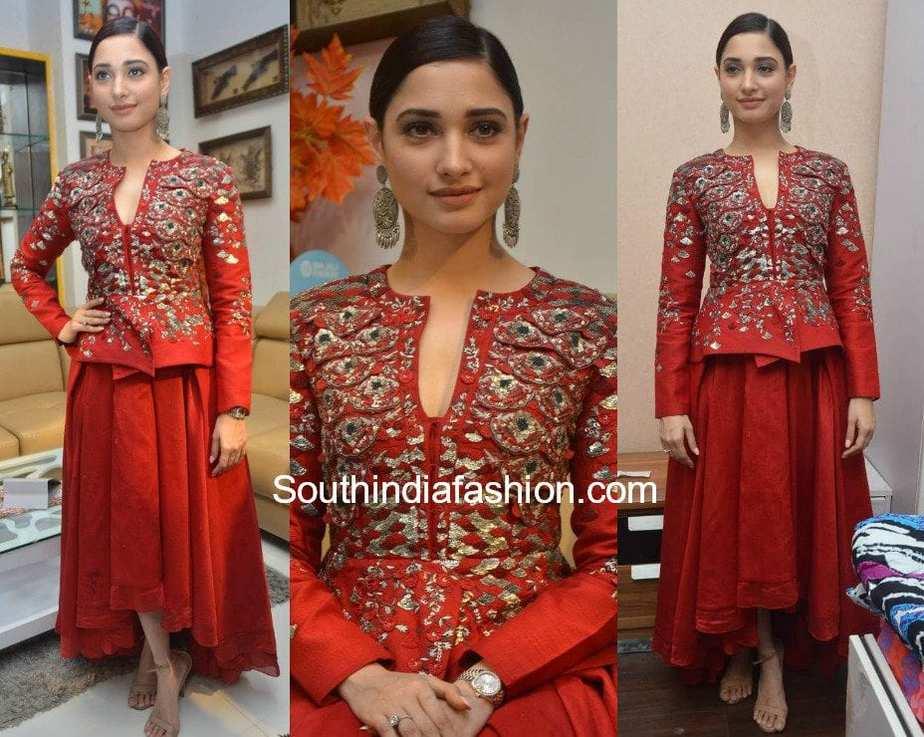tamannaah bhatia red dress tirumala furniture store launch