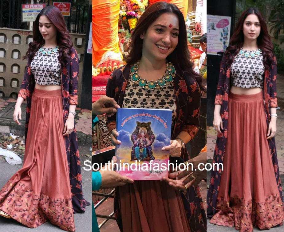 51a451da0779e3 tamannaah bhati long skirt crop top with jacket ganesh utsavam 2017  Tamannaah Bhatia ...
