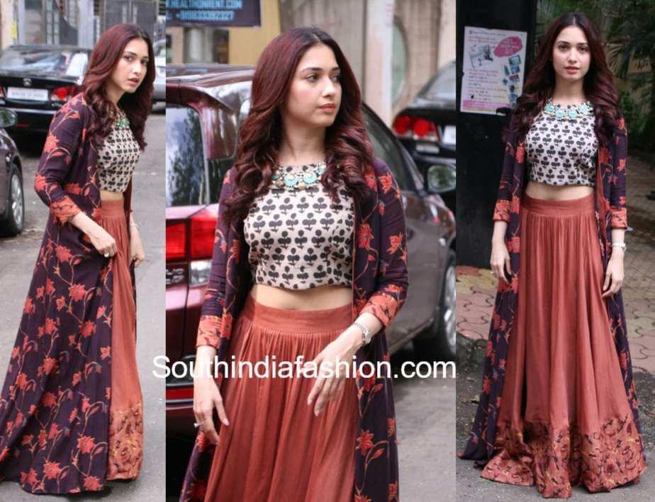 tamannaah bhati long skirt crop top with jacket ganesh utsavam 2017