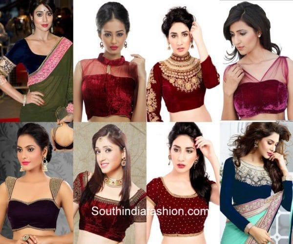 velvet-saree-blouses-festivals