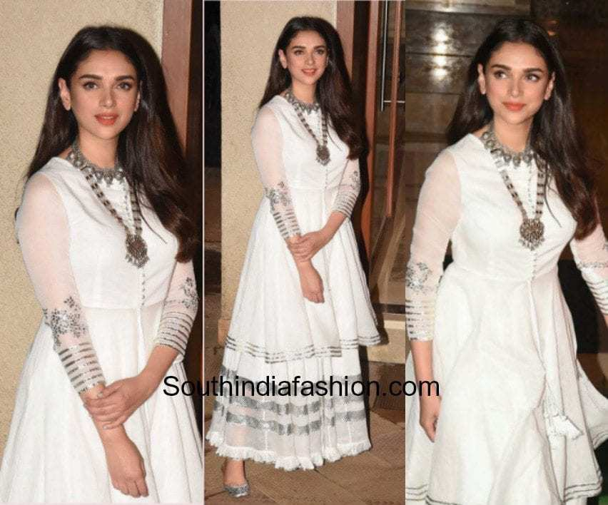 Aditi Rao Hydari in a white and metallic ensemble at Sanjay Dutt's house for Eid