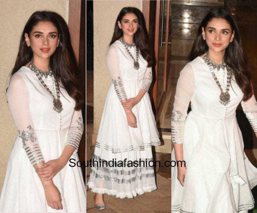 Aditi Rao Hydari in a white and metallic ensemble at Sanjay Dutt's house for Eid