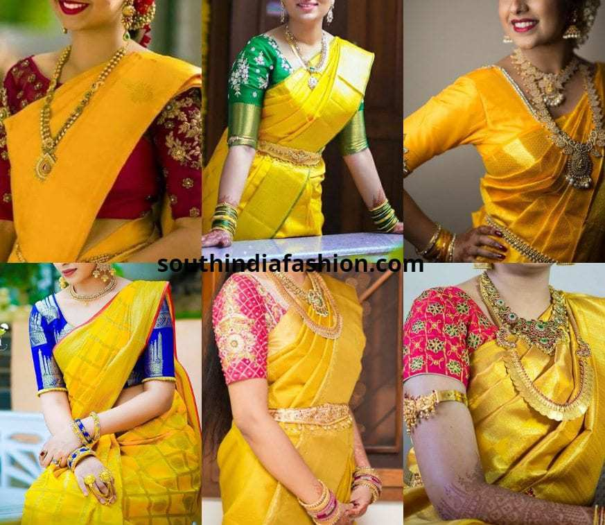 5 Best Blouse Combinations For Yellow Kanjeevarams