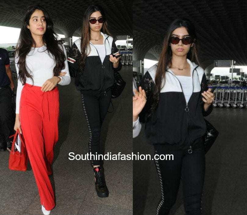 Khushi and Jhanvi Kapoor at the airport