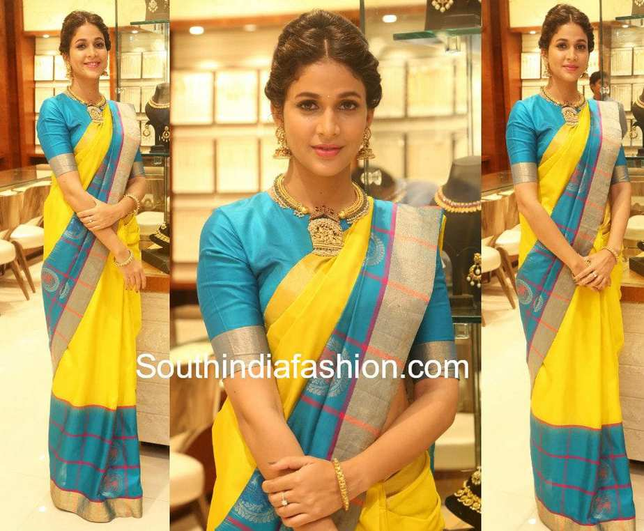 LAVANYA TRIPATHI IN YELLOW AND BLUE COMBINATION PATTU SAREE FOR RS BROTHERS 15 YEARS CELEBRATIONS