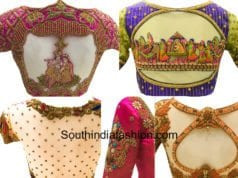 latest maggam work blouse designs for pattu silk sarees needle eye boutique