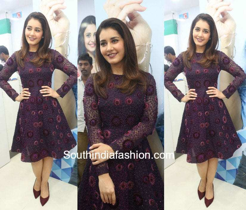 Raashi Khanna in a dress at Big C Mobile's 50th store launch in Hyderabad