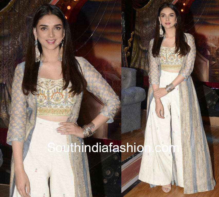 aditi rao hydari in label anushree for bhoomi promotions
