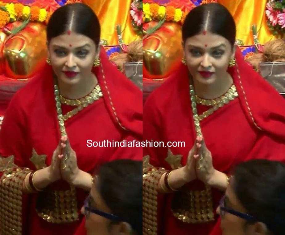 Aishwarya at Lalbag Cha Raja sabyasachi saree ganesh darshan