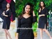 Anasuya in black dress jabardasth