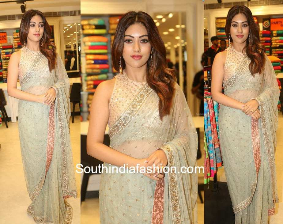 anu emmanuel in grey saree at klm fashion mall launch